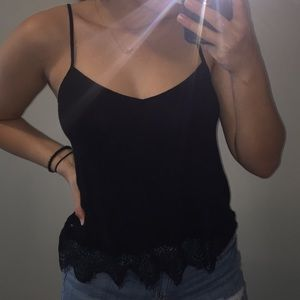 Tank top with lace at bottom